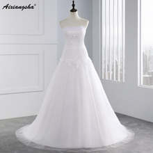 2017 White Wedding Dresses Pearls Beading Sweetheart Tulle Wedding Gowns Princess Vestidos de Novia Hot H-230(China)