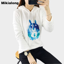 Mikialong Kawaii Cat Totoro Hoodies Women Harajuku 2017 Winter Full Sleeve Sweatshirts Ladies Hoody Jumper Moletom Feminino