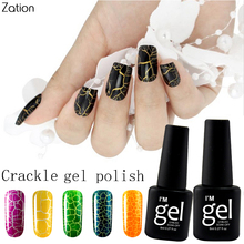 Zation Crackle Shatter Removable 8ml Gel Nails Polish Soak Off Professional Cracking 12 Colorful Gel Lacquers Nail Art(China)