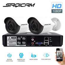 Saqicam 4CH AHD DVR Security CCTV System 30M IR 2PCS 1080P CCTV Camera Outdoor Waterproof Camera Home Video Surveillance Kit