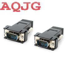 VGA Extender Male to LAN CAT5 CAT6 RJ45 Network Ethernet Cable Female Adapter Computer Extra Switch Converter Kit Black 2pcs(China)