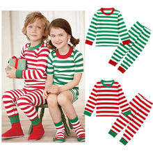 Christmas Spring Collection Suits For Children Furnishing Striped Pullover Shirt and Pants Casual Kids Clothing Sets Pajamas