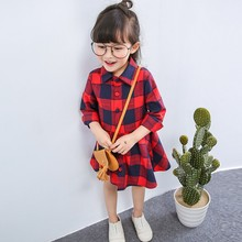New Fashion Girls Dress Autumn Brand Girls Clothes England Style Plaid Fur Ball Bow Design Baby Red Girls Dresses(China)