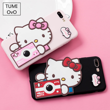 Cute Camera Pink Kitty Cat Soft TPU Silicon Case For iPhone 6 6s Plus 7 8 Plus Back Phone Full Protect Cover Pink Candy Color