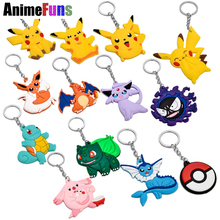 Eevee Pocket Cartoon Pokemon Go Figures PVC Keychain Anime Pikachu Bulbasaur Gastly Chansey Squirtle Cute Pendants Toy KeyRing