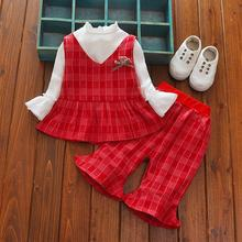 Baby Girls Clothes 2018 New Spring Autumn Casual Girls Set White Shirts+Grils Pants+Girl Dress 3PCS Cute Children Clothing(China)