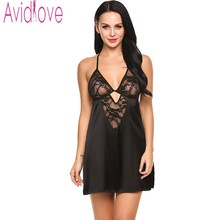 Avidlove Women Temtation Lingerie Sleepwear Satin Sexy Hollow Lace Patchwork Chemises Hot Erotic Key Hole Transparent Babydolls