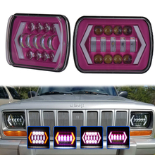 "Pair 5x7"" 6x7inch Square Led Light Purple Rectangular Headlight Hi/Lo Beam With Trun Signal For Wrangler XJ MJ Truck 4x4(China)"