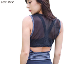 Sexy Mesh Hollow Out Yoga Top Sport T Shirt Women Quick Dry Fitness Clothing Yoga Shirt Sports Jerseys Gym Running Tank Tops