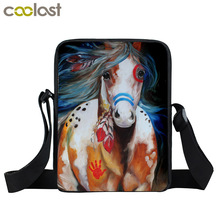 War Horse Mini Messenger Bag Women Handbag Animal Pony Children Cross Bag Boys School Bags Kids Ladies Shoulder Bags Best Gift(China)