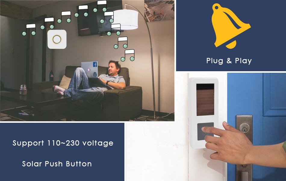 06CTVMAN Wireless Doorbell Solar Powered Push Wireless Doorbell