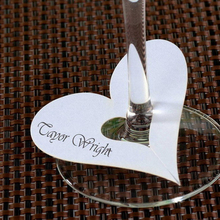 Heart Wedding Name Place Cards For Wine Glass Laser Cut On Pearlescent Card White