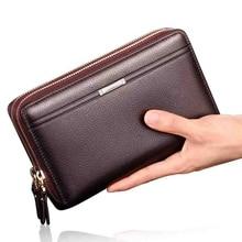 Business Clutch Wallet Men Purse Coins Pocket Men's Money Clip Double Zipper Purses Male Large Capacity Multi-card bit Wallets