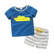 Children's striped Shorts Sets boy cartoon shirt 2017 new two piece sets baby casual suit summer style kids clothes car bus ship(China)