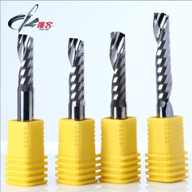 1pcs 10mm SHK single edge milling cutter Single Flute CNC Router Bits One Flute Spiral End Mills Carbide Spiral Milling Cutter <br>