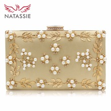 NATASSIE New Arrive Flower Women Evening Bags Fashion Beaded Clutch Bag Female Wedding Clutches Purses High Quality(China)