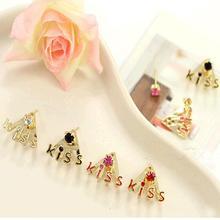"White Black Red Pink for Selecting Letters ""kiss"" Crystal Stud Earrings for Women Ear Piercing Jewelry for Girls"