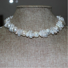 Luxury Baroque Pearl strand necklace Flora&Keshi natural choker Women's perfect gifts Wedding choker Bridal Jewelry Beautiful