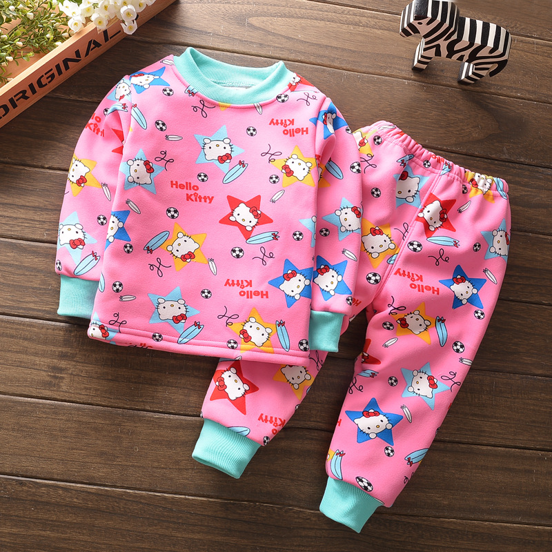 Free shipping winter children  Pajama Sets velvet thickening 2pcs suit fleece baby boy and girls Long Sleeve Tops+ Pant sets<br><br>Aliexpress