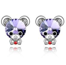 Crystal  Charm Korean New Retro  Small Rhinestone Baby Bear Sweet Fashion Earrings Jewelry For Women b7lcy Jewellery ABC