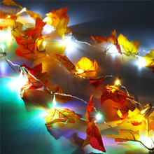 165 CM Fall Leaves 10 LED String Light Battery Powered LED Fairy Light Autumn Leaf Hallowmas Christmas Party Decor Lamp DC3V