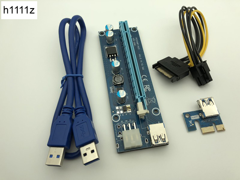 VER006C Riser Card PCI-E 1x 16x PCI Express Riser USB 3.0 Cable SATA 6Pin IDE Power Supply BTC Mining Miner Antminer