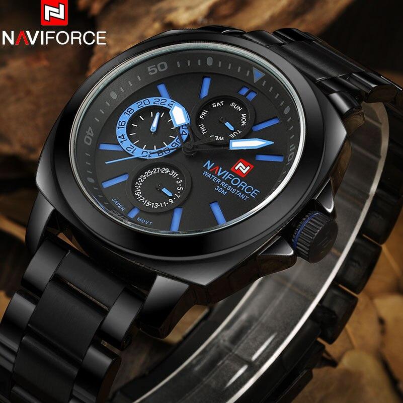 NAVIFORCE Brand Mens Quartz Watch Men Army Military Sport Watches Full steel 24 Hour Week Month Calendar Clock relogio masculino<br>