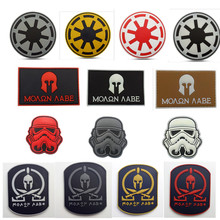 Four styles 3D Rubber Badge Star Wars Spartan Skull Pvc Tactical Badge Combat Morale Us Military Swat Patch PVC Usa Army Outdoor(China)