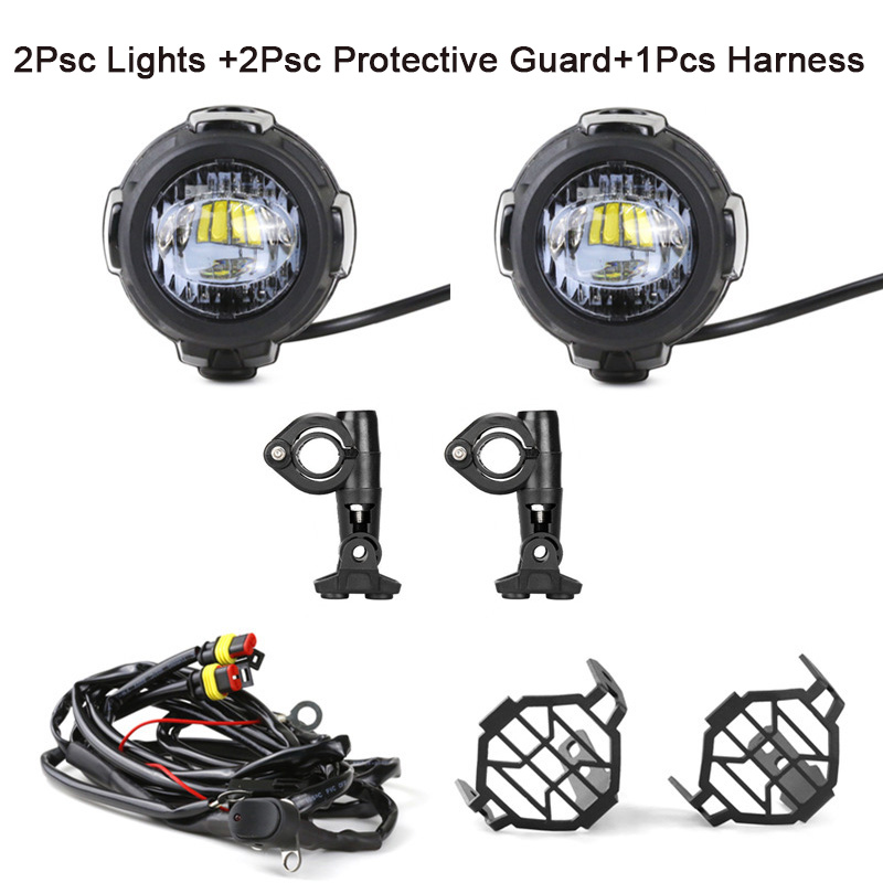 Universal Motorcycle LED Auxiliary Fog Light Assemblie Driving Lamp 40W Headlight For R1200GSADVF800GS (27)