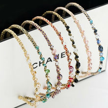 #WX1008 Women Acessorio Para Cabelo Pebbles Hair Band Metal Hairband With Rhinestone Bezel Red Pink Clear Stone Head Ring/Rim