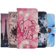 EKONE Flip Phone Case For iPhone 5S Case Colorful Painted Wallet Flip Cover For iPhone 5 5S SE Case Animal Castle Skull