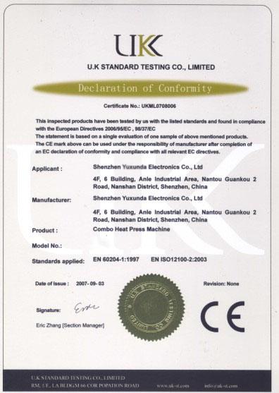 Combo heat press CE certificate