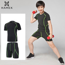 Youth Kids compression running sets sportswear soccer football basketball t shirts tights sports shorts GYM fitness underwearing(China)