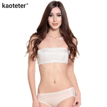 100% Pure Silk Women's Narrow Tube Tops Femme Sexy Thin Lace Wrap Chest Women Strapless Female Without Bra Pads Woman(China)