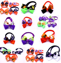 Halloween Pet Dog Cat Bow Ties 100pcs Puppy Dog Bowties Ties Dog Holidays Grooming Aessories Pet Supplies(China)