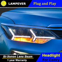 Lampever Styling for 2014-2015 Toyota Camry V55 LED Headlight New Camry Headlights drl Lens Double Beam H7 HID Xenon