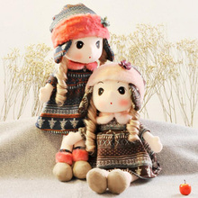 15.75In Ushanka Dress Fashion Girls Stuffed Plush Toy Lovely Classic Girl doll Kids toy Xmas Girl Gift High quality Pillow doll(China)