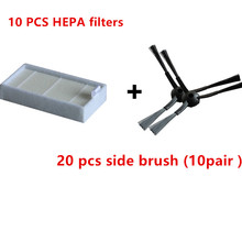 The most cheapest 30 pcs/lot 20 side brush(10 pair) &10 HEPA filters for ecovacs CR120 X500 X600 panda X500 filter