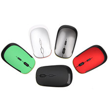 New Arrival Wireless 2.4GHZ USB 2.0 Untra Slim Optical Mouse Mice for PC Laptop Fashion 6 Colors Available