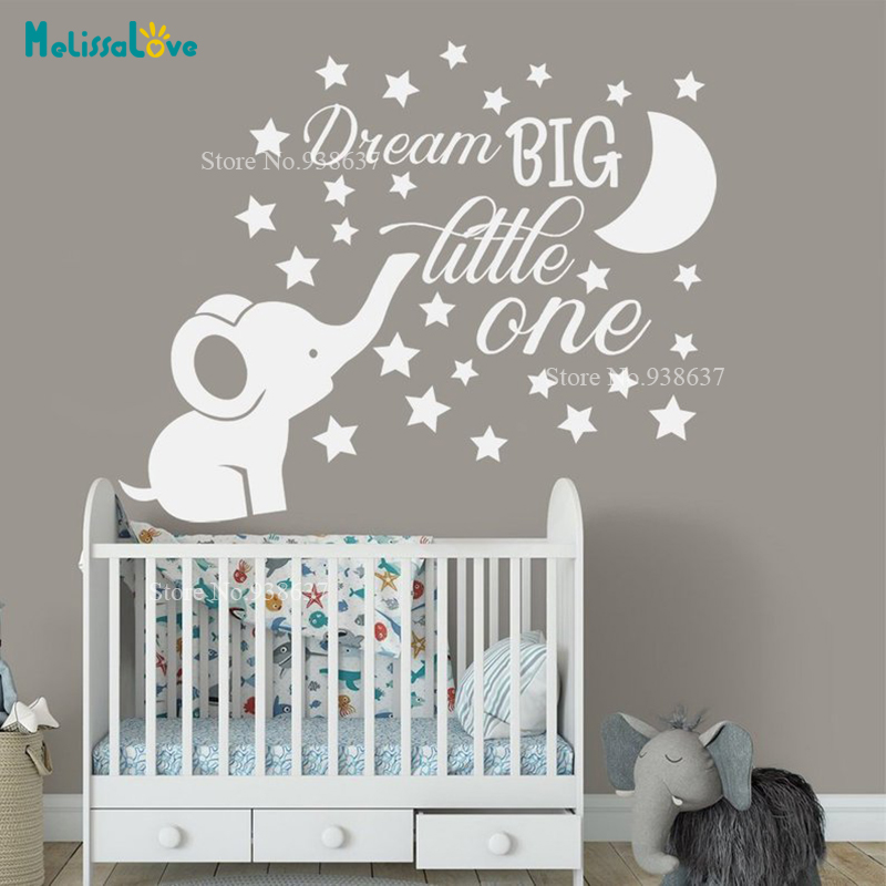 Dream Big Little One Quote Decor Cute Elephant Moon Star Baby Kids Room Decal Nursery Removable Vinyl Wall Sticker BA048(China)
