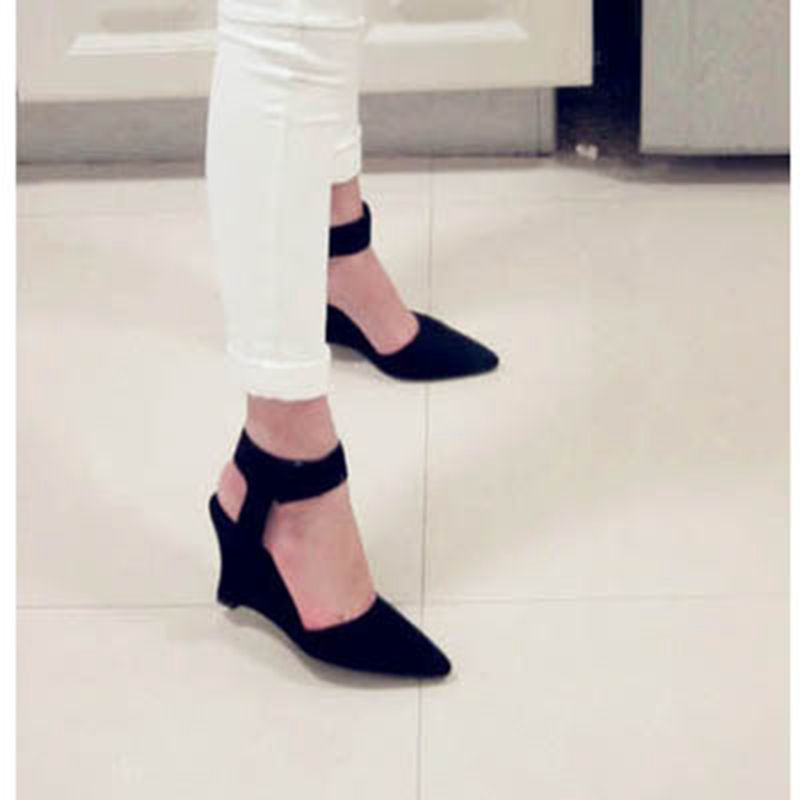 Women Pumps Sexy Pointed Toe Wedges High Heels Ankle Strap Hook &amp; Loop Shoes for Woman Size34-39<br><br>Aliexpress
