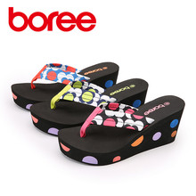 Boree Summer Women's Slippers,Fashion Casual Beach Shoes Flip Flops,Wedges Soft Fabric ,Non-Slip Zapatillas  Mujer Sandalia 121