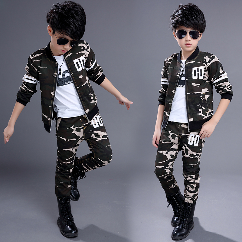 New 2017 Childrens Clothing Sets Kids Boy girls Korean Clothes Set  Coats + Pants 2 Suit Child Kid Camouflage Sports Suits<br><br>Aliexpress
