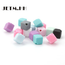 JETM.HH 100pcs Cube Silicone Teething Beads 9mm Baby Teether Bead Diy Necklace Dental Gift Teeth Accessories Bpa Free Mordedor(China)