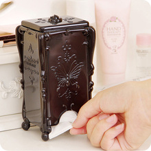 1 PC Acrylic Makeup Cotton Pad Cosmetic Organizer Case Storage Box Holder Acrylic 3 Colors Antique Rose Butterfly 8 * 7 * 15 cm(China)