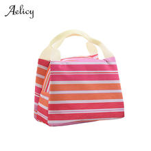 Aelicy 2019 Fashion Portable Insulated Lunch Bag Picnic Lunch Bags for Women Kids New Stripe Cooler Bag Warm And Cold Bag 0914(China)