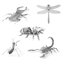 Mini Fun 3D animal insect Mantis Scorpion Stag Beetle Dragonfly Metal Puzzle Adult Models Educational Toy SA880101(China)