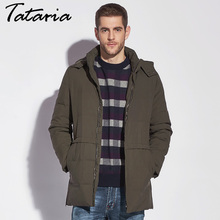 Tataria Big Size Men Winter Down Coat Feather Jacket Male Winter Outwear Men's Coat Down Parkas For Men Warm Clothing Casual(China)