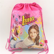 Non-woven Fabric Soy Luna Drawstring Bags Kids Favors Events GiftsHappy Birthday Party Decoration Baby Shower supplies 1pcs\lot