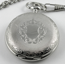 Archaize Silver Stainless Steel Engraved Mechanical Antique Style Pocket Watch Hand Wined Classic Watches Free Chain Men